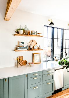 Full Reveal of our Modern U-Shaped Kitchen Remodel Heartbeet Kitchen Small Kitchen Remodel FULL Heartbeet Kitchen Modern Remodel Reveal Ushaped Sage Green Kitchen, Green Kitchen Cabinets, Kitchen Reno, Kitchen Remodel, Mini Kitchen, Kitchen Ideas, Wood Shelves In Kitchen, Kitchen With White Countertops, Green Kitchen Decor