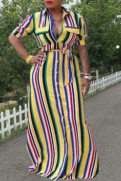 8cfb4d3d69 Roaso Euramerican Striped Floor Length Dress
