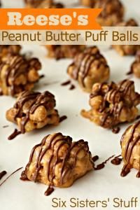 Six Sisters Reese's Peanut Butter Puff Balls Recipe are so easy and no bake!