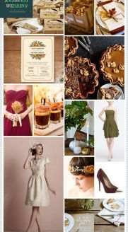 REVEL: A Harvest Wedding: I absolutely love fall and Thanksgiving, the colors are amazing together, and not a big fan of olive green but it works well with the theme and the red/plum color. Very unique and lovely!