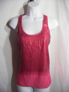 H&M PINK TANK  SEQUIN PATTERN SIZE 4 #HM #TankCami #Casual