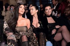 Kris Jenner vamps it up in mini dress, fishnets and velvet coat as she grabs share of spotlight from daughter Kim at Paris Fashion Week | Daily Mail Online