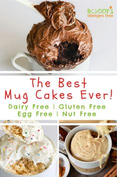 The Best Mug Cakes Ever! It's just a bonus they are allergen free! Single Serve Desserts, Kid Desserts, Homemade Desserts, Vegan Desserts, Dessert Recipes, Easy Gluten Free Desserts, Dairy Free Recipes, Healthy Recipes, Easy Recipes