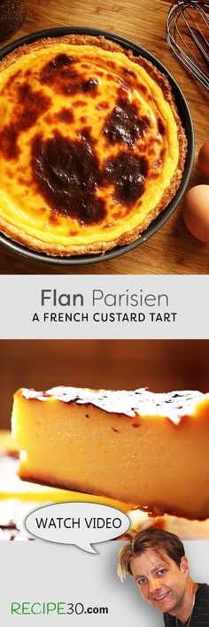 French custard pie Flan Parisien is a French custard tart also known as Flan pâtissier which is quite popular in France, in fact you will find them in most patisserie shops. Some are better than others but making it fresh yourself, will not compare. It's easy to make, even the pie crust (See my recipe) however you can always buy it or use puff pastry if short on time. A great snack or dessert to enjoy with a sweet white wine such as a chilled muscat de Rivesaltes.