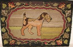 antique rug with an airedale...adapted pattern now available from Black Sheep Wool Designs.