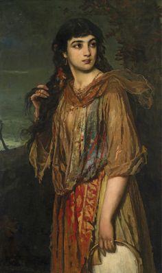 Anton Romako ( Austrian,1832-1889). Цыганка с бубном