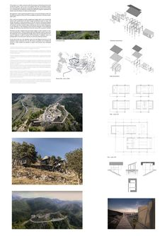 Image 34 of 51 from gallery of YAC Announces the Winners of Castle Resort Competition. Image Courtesy of YAC Architecture Panel, Architecture Design, Architecture Presentation Board, Presentation Boards, Resort Plan, Medieval Fortress, Collage Illustration, Southern Italy, Tudor