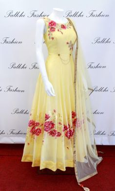 Reflect the true traditional essence of Indian culture by draping this Yellow Georgette Chaniya choli. Chaniya choli comes with Bandhej Multi Shade Duppata. Party Wear Indian Dresses, Indian Gowns Dresses, Dress Indian Style, Indian Fashion Dresses, Indian Wedding Outfits, Indian Designer Outfits, Indian Outfits, Indian Wear, Fashion Clothes