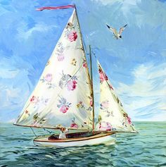 If I ever had a sailboat it would probably look something like this lol. Claire Fletcher colorful sailboat with dog Art And Illustration, Art Plage, Jolie Photo, Beach Art, Sailing, Whimsical, Artsy, Sketches, Drawings