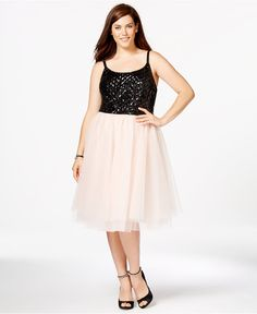 2ed17f61ed0d3 Trixxi Plus Size Sequined Tulle-Skirt Party Dress Plus Sizes - Dresses -  Macy s