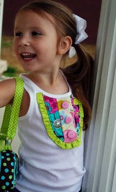 Add a cute bib-style embellishment to a girls tank or top