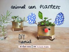 """Can you handle the """"cute""""? These Tin Can Animal Planters seen on Handmade Charlotte are sure to make you go """"Awww!!"""" Such a fun project to create with the kids. Are you thinking 'Love Bugs' for ..."""