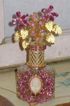Antique Bejeweled Bottle 35 Pink Cameo FromThe Collection  By Debbie Del Rosario-Weiss, Juliana,brush, comb, vintage, Clock,tray, mirror, perfume, antique, vintage, victorian, Sparkle,
