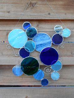 Stained Glass Bubbles - Suncatcher- Blues-Cobalt-Aqua-BlueGreen by DesertGirlGlass on Etsy https://www.etsy.com/listing/128057538/stained-glass-bubbles-suncatcher-blues