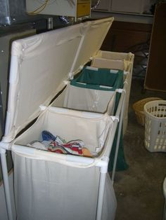 DIY Laundry Sorter Big DIY PVC Laundry Sorting Station Have a large family—or a certain teenager who just generates a ton of dirty clothes? Make this DIY laundry sorter out of inexpensive PVC pipe, fittings, and laundry bags. Diy Laundry Bins, Laundry Room Organization, Small Laundry, Laundry Hamper, Diy Organization, Laundry Bags, Laundry Closet, Organizing, Laundry Organizer