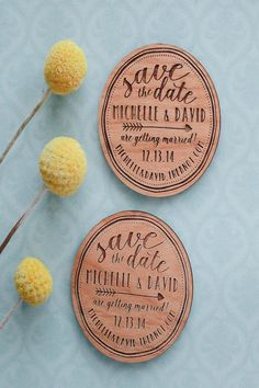 Engraved wooden magnets by RedCloudBoutique on Etsy. 12 Swoon-Worthy Save The Dates on @intimatewedding #savethedate #weddingmagnet #weddingcard