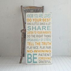 Wood Sign Family Rules House Rules Signs of Vintage No Whining Be Grateful Large Size. $100.00, via Etsy.