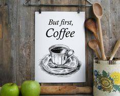 Digital Download Wall Art, Kitchen Wall Art, Vintage Style Print, Art Prints Kitchen, Unique Art Prints, But First Coffee, Coffee Cup Print
