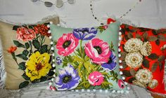 collecting feathers: Vintage tea towel cushions