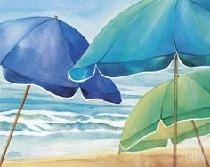 Beach umbrellas... the image of summer by the sea. http://beachblissliving.com/beach-paintings-kathleen-denis/