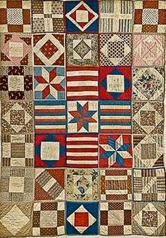 This quilt of individually quilted and bound blocks (aka Potholder quilts) is attributed to the Civil War years, made for a Soldier's Aid Society---in the collection of the New England Quilt Museum. Old Quilts, Antique Quilts, Vintage Quilts, Crib Quilts, Scrappy Quilts, Civil War Quilts, Patriotic Quilts, Quilt Of Valor, Sampler Quilts