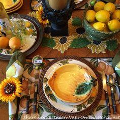 Lemon-Themed Table Setting with Lemon Dishware and Limoncello