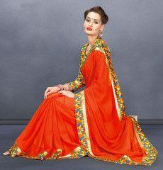 Dark Orange Color Georgette Casual Functions Sarees : Mahira Collection  YF-41011