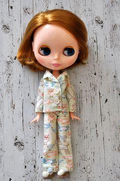 Snuggly Winter Woodland PJs for Blythe dolls.