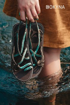 Comfortable and elegant sandals Beach Sandals, Flat Sandals, Nylons, Turquoise Sandals, Vegan Sandals, Stylish Sandals, Sea Waves, Fashion Styles, Outfit