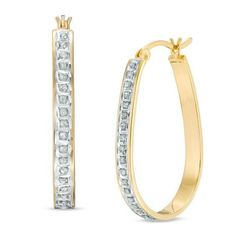 Zales Diamond Fascination Inside-Out Hoop Earrings in Sterling Silver with 18K Gold Plate uLGev