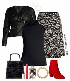 Plus Size Leopard Skirt Outfit with Walmart - Faux Leather Biker Jacket, Sleeveless Turtleneck, and Red Ankle Booties - Alexa Webb #plussize #alexawebb Black Faux Leather Jacket, Leather Jacket Outfits, Leopard Skirt Outfit, Skirt Outfits, Plus Size Spring Dresses, Plus Size Outfits, Cute Plus Size Swimsuits, Biker, Plus Size Fashion Blog