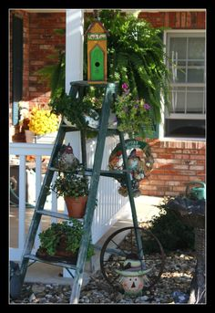 old ladder decorated for fall 2013
