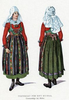 Festival clothing for married woman of Vemmenhög, Skåne, Sweden. Sweden Costume, Welsh, Festival Outfits, Festival Clothing, Vikings, Swedish Embroidery, Dark Circus, Married Woman, Paper Dolls Book