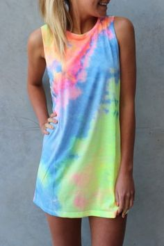 Beat the heat and look good by exploring Red Hot Summer Fashion Women's Summer Sleeveless Tie-dye Round Neck Rainbow Long Top Mini Dress (XL) Multicolor X-Large Clothes For Summer, Summer Outfits, Cute Outfits, Summer Dresses, Mini Dresses, Beach Dresses, Camisa Tie Dye, Tie Dye Dress, Shirt Dress