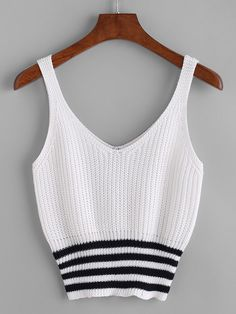 Shop Double V Neck Striped Hem Knit Tank Top online. SheIn offers Double V Neck Striped Hem Knit Tank Top & more to fit your fashionable needs. Diy Fashion, Ideias Fashion, Fashion Outfits, Cute Crop Tops, Tank Tops, Crochet Wallet, Diy Vetement, Vetement Fashion, Knitted Tank Top