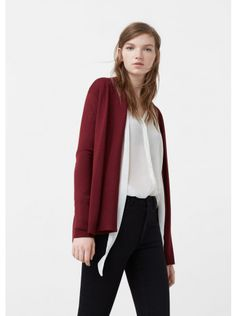 f65c05be48ce7 MANGO Ribbed Cardigan Dark Red Mango Outlet, Mango France, Professional  Outfits, Knitted Fabric