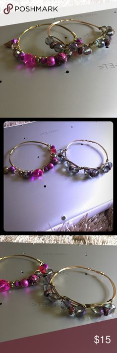 Pink and purple gold wire bangle set Gold wire bangle accented with pink and purple beading Jewelry Bracelets