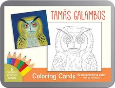 "Hungarian folk artist Tamás Galambos explores nature in brightly colored paintings alive with birds, animals, insects, and plant life. In these five coloring cards, he brings us up close to winged creatures large and small.  Contains 2 each of the following notecards: <br /><em>Stock Owl <br />The Peacock <br />Peacock with Locusts <br />Giant Butterfly <br />Butterfly</em>  <img src=""/lib/pomegranate/caution-triangle.gif"" alt=""Caution"" style=""float:left; margin-right:.5em;""> WARNING…"