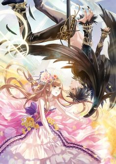 Anime picture 895x1265 with  original ojyou long hair short hair tall image blue eyes black hair red eyes brown hair breasts bare shoulders cleavage couple nail polish lips flying collarbone sleeveless long fingernails black wings