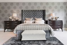 Modern Bedroom Lighting Ideas Design Ideas, Pictures, Remodel and Decor- back wall wall paper