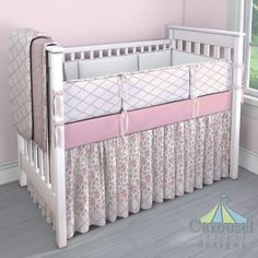 Sweet Baby Girl Crib bedding in Pink Dimpled Minky, Pink Trellis, White and Pink Rosettes, Solid White Minky, Solid Pink, Solid Bubblegum Pink. Created using the Nursery Designer® by Carousel Designs where you mix and match from hundreds of fabrics to create your own unique baby bedding. #carouseldesigns