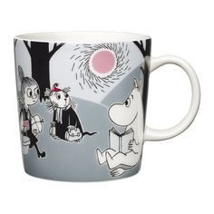 """Arabia's mug """"Adventure move"""" (Seikkailu muutto) with elegant shape and kind motif from the Moomin world. Charming pottery from Finland. Secure payments and worldwide shipping within 24 hours. Moomin Shop, Moomin Mugs, Les Moomins, Moomin Valley, Tove Jansson, Porcelain Mugs, Finland, Coffee Mugs, Pottery"""