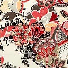 white flower & ornament fabric by Alexander Henry 1