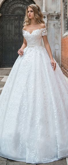 Modest Lace Off-the-shoulder Neckline Ball Gown Wedding Dress With 3D Lace Appliques & Beadings & Belt #weddingdresses #laceweddingdresses