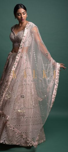 Powder Pink Lehenga Choli In Organza With Foil Applique And Mirror Abla Work Online - Kalki Fashion Pink Lehenga, Lehenga Choli, Designer Anarkali Dresses, Wedding Function, Lehenga Designs, Powder Pink, Indian Outfits, Indian Fashion, Gown