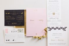 Blush, Gold Black and White Invitations
