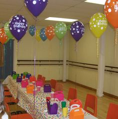 Colourful birthday balloons & partyware make all the difference to an otherwise dreary room