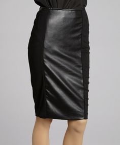 Take a look at this Black Faux Leather Pencil Skirt - Women by 555 Los Angeles on #zulily today!