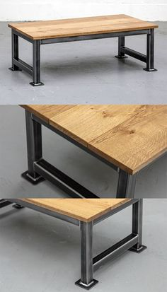 The Artisan Coffee Table - this beautiful industrial low table has a traditional. Coffee Table Furniture, Steel Furniture, Industrial Furniture, Industrial Table, Western Furniture, Rustic Furniture, Vintage Furniture, Furniture Design, Recycled Furniture