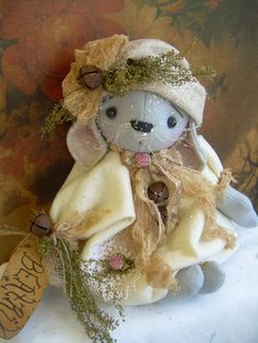 "Primitive Prim Folk Art Mouse Doll ""Beatrix"" Must See!!! #NaivePrimitive #LeahsWhimsicalcorner   SOLD"